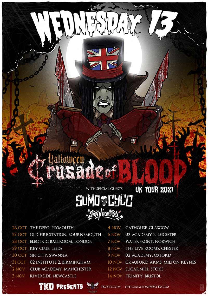 Wednesday 13 - Halloween UK Tour 2021